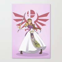 smash bros Canvas Prints featuring Smash Bros - Zelda by Emm Gee Art