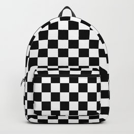 Black Checkerboard Pattern Backpack