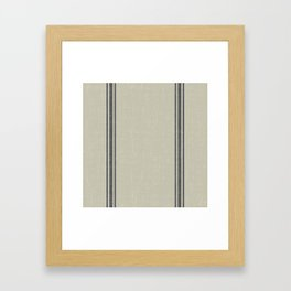Vintage Country French Grainsack Grey Gray Stripes Linen Color Background Framed Art Print