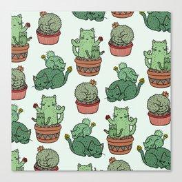 Cacti Cat pattern Canvas Print