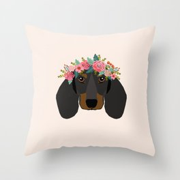 Dachshund floral crown dog breed pet art dachshunds doxie pupper gifts Throw Pillow