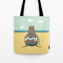Sunbathing Hippo Tote Bag