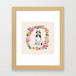 husky floral wreath spring dog breed pet portrait gifts Framed Art Print