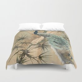 Peacock In The Pines Duvet Cover