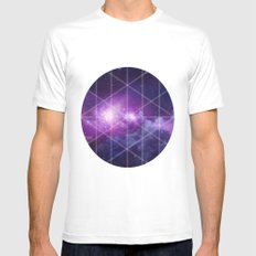 galaxy White MEDIUM Mens Fitted Tee