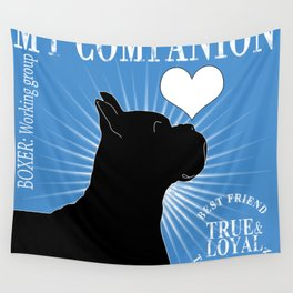BOXER – My Companion - Blue Wall Tapestry