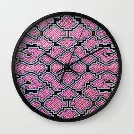 Song of Bringing Things Together - Traditional Shipibo Art - Indigenous Ayahuasca Patterns Wall Clock