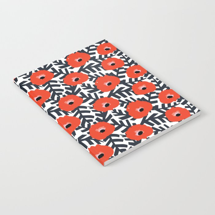 Summer Poppy Floral Print Notebook