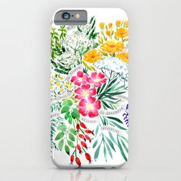Watercolor medicinal herbs iPhone Case