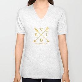 VIBE - Feather Arrow Cross - GOLD Unisex V-Neck
