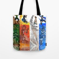 the legend of korra Tote Bags featuring Legend of Korra Elements by paulovicente