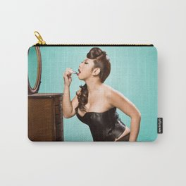 """""""Touch-up"""" - The Playful Pinup - Sexy Pinup Girl Refreshing Lipstick by Maxwell H. Johnson Carry-All Pouch"""