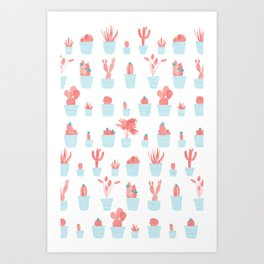 Cacti and Plants in Pots | Blue and Red Palette Art Print