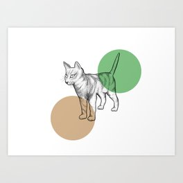 cat in the circle Art Print