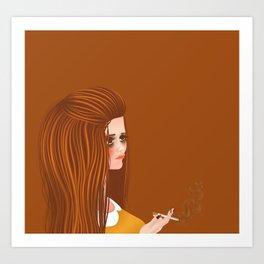 portrait of a 60s girl smoking Art Print