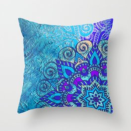 V13 Colored Floral Abstract ART Painting Throw Pillow