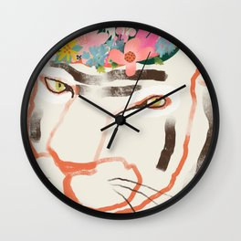 Tiger with Floral Crown Illustration Wall Clock
