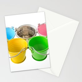 Colorful buckets Stationery Cards