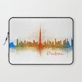 Dubai, emirates, City Cityscape Skyline watercolor art v3 Laptop Sleeve