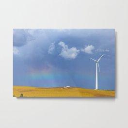 rainbow and windmill Metal Print