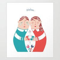 sister Art Prints featuring Sister by Michela Gaburro