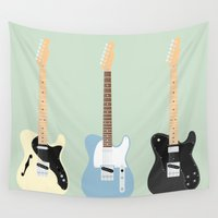 custom Wall Tapestries featuring Flat Telecaster custom 7 by Will Wild
