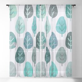 Watercolor Forest Pattern #6 Sheer Curtain