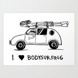 I HEART BODYSURFING Art Print