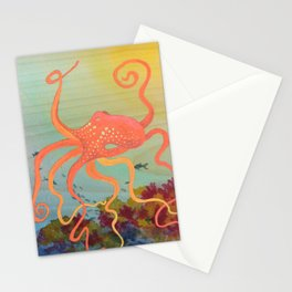 safety orange octopus Stationery Cards