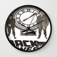 back to the future Wall Clocks featuring BACK TO THE FUTURE by Rocky Rock