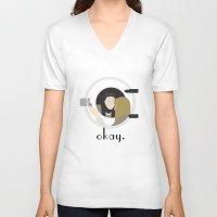okay V-neck T-shirts featuring Okay. by Zharaoh