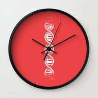 dna Wall Clocks featuring Musical DNA by John Tibbott