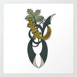 Lizard and coltsfoot leaf Art Print