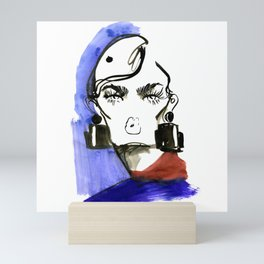 Lady Lashes fashion sketch Mini Art Print
