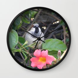 Sparrow in the Vine Wall Clock
