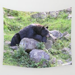 Contemplative Black Bear Wall Tapestry