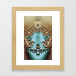 Elegant Royal Gold and Aqua Abstract Framed Art Print