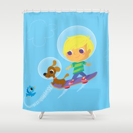 hover boarding future boy Shower Curtain