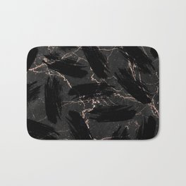 Abstract black rose gold glitter brushstrokes marble Bath Mat