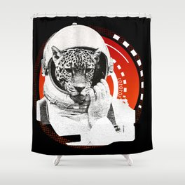 No One Can Hear You Meow in Space Shower Curtain