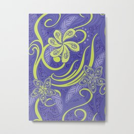 Polynesian Kiwi Lime Tropcal Floral Metal Print