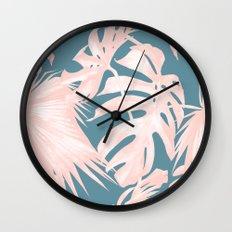 Palm Leaves Pink Coral on Deep Ocean Blue Wall Clock