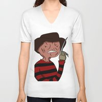 freddy krueger V-neck T-shirts featuring Adventure Time with Freddy Krueger by Tinsel Pencil