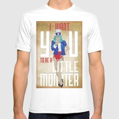 For The Monsters MEDIUM Mens Fitted Tee White