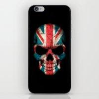 british flag iPhone & iPod Skins featuring British Flag Skull on Black by Jeff Bartels
