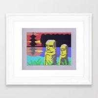 tiki Framed Art Prints featuring Tiki by Vaporware