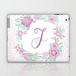 Monogram F - cute girls purple florals flower wreath, lilac florals, baby girl, baby blanket Laptop & iPad Skin
