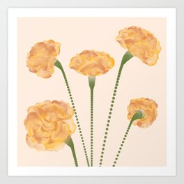 Line Carnations 1c Art Print