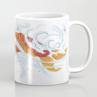 koi fish Mugs featuring Koi Fish by Give me Violence