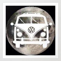 volkswagon Art Prints featuring Moon Wagon by Isaak_Rodriguez